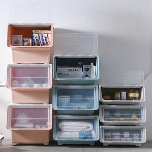 【收納+】2入-(超大款57.5L)斜口上掀蓋式可堆疊附輪收納箱整理箱粉橘