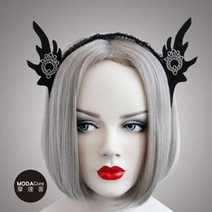摩達客 萬聖節-哥德風黑色精靈耳蕾絲創意造型髮箍