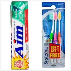 美國 Aim美白牙膏-清新/6入(5.5oz*6)+System牙刷(3入)*3