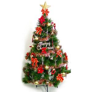 摩達客 台製7尺特級綠松針葉聖誕樹+紅金色系配件組(不含燈)