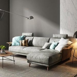 林氏木業北歐輕奢荷蘭絨移動頭枕L型三人布沙發(附抱枕)RAV1K-墨灰色