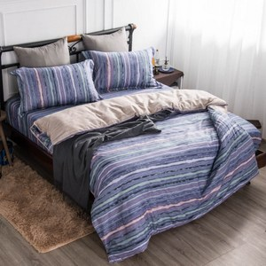 【夢工場】彩虹萬歲精梳棉鋪棉兩用被床包組-加大