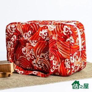 【佶之屋】日式和風棉麻加厚便當袋/保溫保冰袋紅色浪花