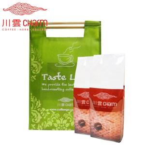 川雲 墨西哥 馬拉哥滋比(半磅)&嚴選可娜圓豆咖啡(半磅) 提袋組中粗度4:法國壓壺、金屬