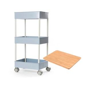 (組))鐵製烤漆三層推車-藍+桌板