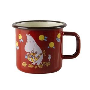 【芬蘭Muurla】嚕嚕米系列-復古嚕嚕米媽媽琺瑯馬克杯370cc-紅色