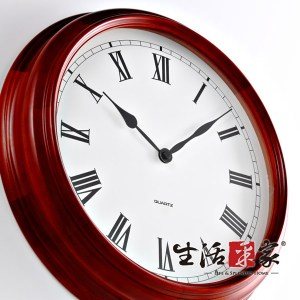 【生活采家】歐式經典40cm栗色實木靜音掛鐘#01022入