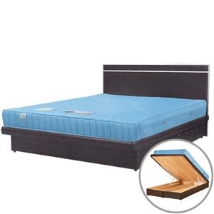 Homelike 麗緻二線獨立筒5尺掀床床片組-雙人掀床(胡桃木紋)