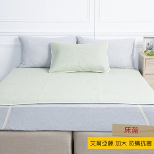 HOLA 艾爾亞藤抗菌防蟎加大床蓆 180x186cm 綠