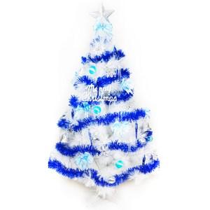 【摩達客】台灣製6尺(180cm)特級白色松針葉聖誕樹(藍銀色系配件)(不含燈)