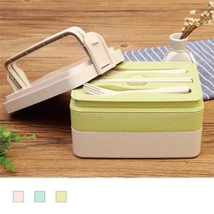 【佶之屋】天然小麥梗環保餐盒-三層款(附餐具)-綠色