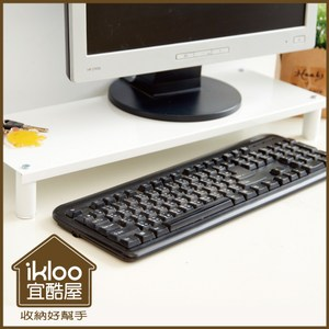 【ikloo】省空間桌上鍵盤架/螢幕架(氣質白)