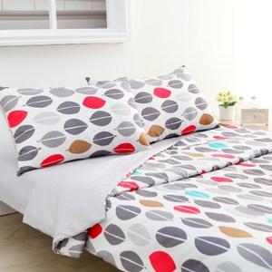 韓版床包兩用被組 (美式枕套x2、兩用被套x1、床包x1) 雙人尺寸 桂葉灰風格款