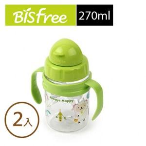 樂扣樂扣優質彩繪兒童握把水壺270ML綠色(小羊)附吸管/清潔刷 2入