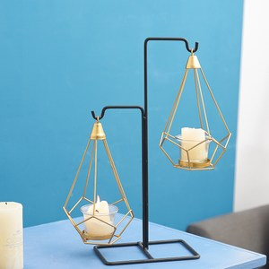 輕奢金屬風天秤燭台-附燭杯-高19.5cm