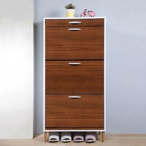 《C&B》第二代薄型大容量三層鞋櫃(三色可選)典雅胡桃