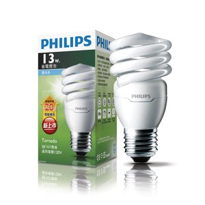 飛利浦 新一代 T2 13W 螺旋省電燈泡 白光 PHILIPS