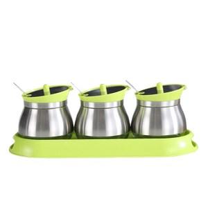 【PUSH!餐具廚房用品】不鏽鋼調味罐胡椒罐(3罐組綠色)D86-1