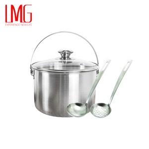 【LMG】304不鏽鋼吉品湯鍋18CM-提把+凡爾賽5號湯漏勺組