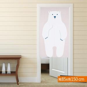 北極熊日式印花門簾 粉色 寬85x高150cm