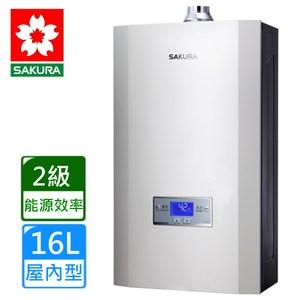 【櫻花】DH1693 渦輪增壓智能恆溫屋內強制排氣熱水器-天然瓦斯