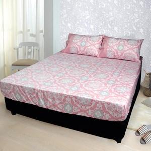 【FITNESS】精梳純棉雙人床包+枕套三件組- 尊爵貴族(粉色)