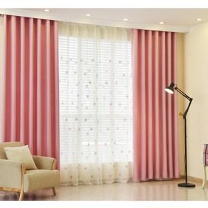 【三房兩廳】抗UV純素色系遮光窗簾(寬200x高160) 絲絨麻粉色