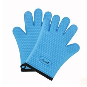 PUSH!廚房餐具用品防燙隔熱矽膠手套D165藍色藍色