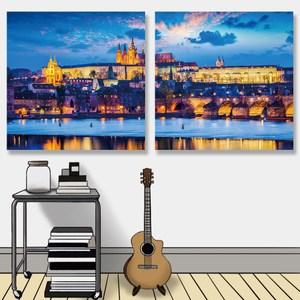 【24mama掛畫】二聯式油畫布無框畫30x30cm-黃昏布拉格城堡油畫布無時鐘
