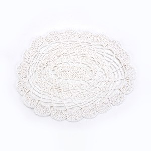HOLA 婭蔓紙纖編織橢圓餐墊 30x40cm 白