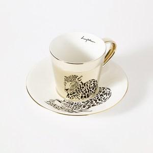 Luycho 鏡面倒影動物圖案咖啡杯-美洲豹(滑面)
