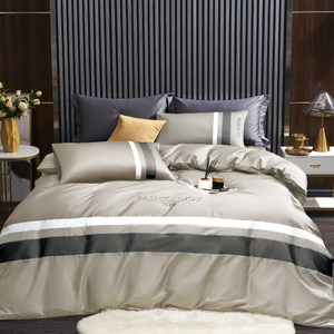BEDDING-60支100%天絲兩用被床包組-錦繡年華褐灰(加大)