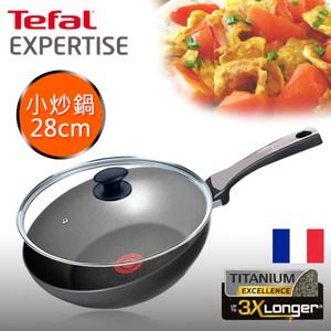 [特價]【Tefal 特福】鈦廚悍將系列28CM不沾鍋炒鍋+玻璃蓋