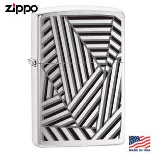 【Zippo】美系 三角直紋雕花-拉絲鍍鉻防風打火機#29914