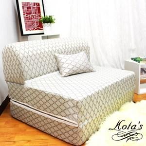 【KOTAS】高彈力緹花精織彈簧沙發床椅(送卡哇伊緹花抱枕)