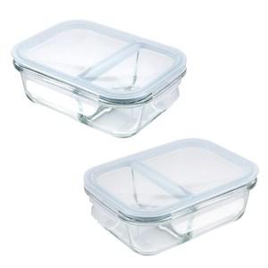 微烤兩用全隔斷雙格保鮮盒-600ml+950ml