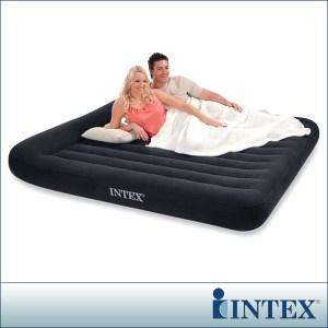 INTEX《舒適型》雙人特大植絨充氣床墊(寬183cm)-有頭枕(66770)