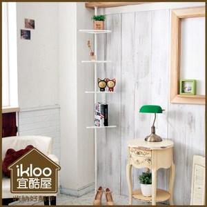 【ikloo】時尚白三角頂天立地4層多功能伸縮置物架