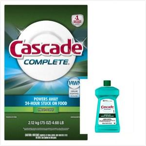 美國Cascade 長效洗碗機洗碗粉-清新(75oz)*1+亮光劑*1