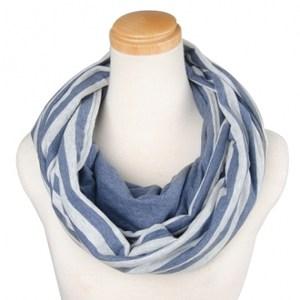 簡約針織條紋圍巾組藍灰