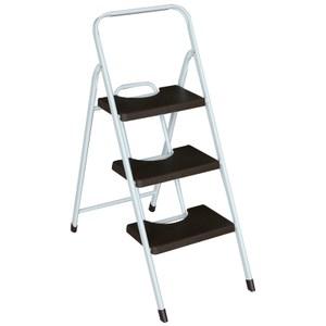 三階彩色寬踏板鐵管梯 咖啡色
