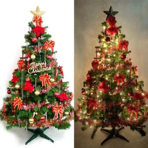 【摩達客】台製6尺豪華版裝飾綠聖誕樹(紅金色系配件+100燈鎢絲樹燈清光2串