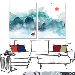 【24mama 掛畫】二聯式 油畫布 無框畫 30x40cm-霧中山脈油畫布無時鐘