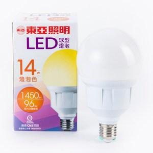 東亞 G95型 14W LED燈泡 黃光