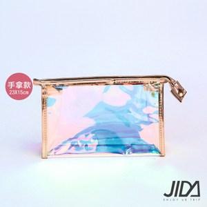 【JIDA】網美款雷彩TPU耐磨防水厚款半透盥洗包/化妝包(手拿款)1入