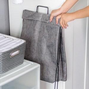 可折疊布質衣物收納籃-灰色
