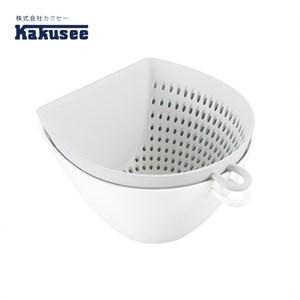 【日本Kakusee料理道具】多功能配料雙層瀝水籃(附量杯)白色
