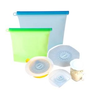 宜居家矽膠食物密封保鮮袋/蓋_6件組