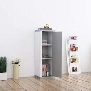 【Accessco】日系雙色三格一門厚板收納書櫃(亮銀白)