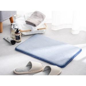 法蘭絨吸水抗菌釋壓記憶綿踏墊40x60cm 藍 兩入組